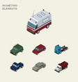 isometric car set of suv truck freight and other vector image vector image