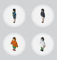 isometric person set of doctor policewoman lady vector image vector image