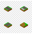 isometric road set of unilateral footer single vector image vector image