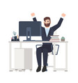 male office worker or clerk sitting at desk and vector image