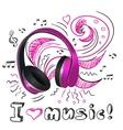 Music doodle headphones vector image vector image