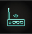 neon wifi router icon in line style vector image