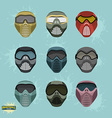 paintball protection mask set vector image vector image