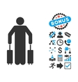Passenger Baggage Flat Icon with Bonus vector image vector image