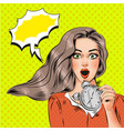 pop art beautiful surprised girl with alarm vector image