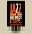 poster for the jazz festival with the piano keys vector image vector image