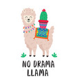 poster with cute llama and cactus vector image