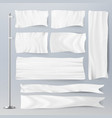 Realistic template blank white flags vector image