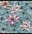 seamless blue pattern with water lilies vector image