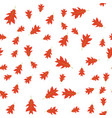 seamless pattern of autumn red leaves randomly vector image vector image