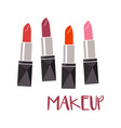 set of color lipsticks makeup vector image