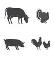 set of farm animals isolated on the white vector image vector image