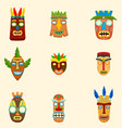 set of unusual african masks in different shapes vector image vector image