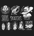 skateboard shop badges set dinosaur and skeletons vector image
