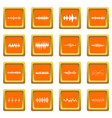 sound wave icons set orange vector image