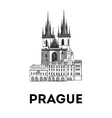 The sketch of Old town square in Prague vector image vector image