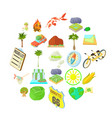 tourist life icons set cartoon style vector image