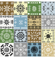 Tribal motifs background in squares vector image vector image