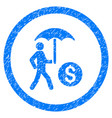 walking businessman under umbrella rounded grainy vector image