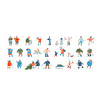 winter people group cartoon characters dressed vector image vector image