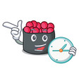 with clock ikura character cartoon style vector image vector image