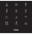 yoga editable line icons set on black vector image