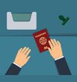 biometric passport control vector image