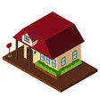 3d design for with red roof vector image vector image