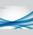 abstract blue wave curve on white background vector image vector image