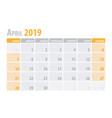 april calendar planner 2019 in clean minimal vector image
