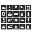 Black Shop and Foods Icons vector image vector image