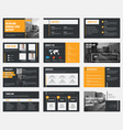 black slides with gray and orange design elements vector image vector image