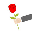 businessman hand holding red rose flower giving vector image vector image