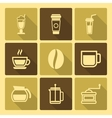 Coffee Drinks Icons With Long Shadow vector image vector image