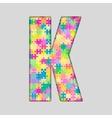 Color Piece Puzzle Jigsaw Letter - K vector image