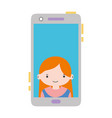 colorful smartphone technology with girl person vector image