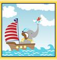 cute animal sailor cartoon on sailboat vector image vector image