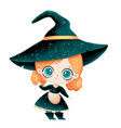 cute cartoon little witch with red hair vector image