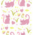 cute cats seamless pattern kittens endless vector image