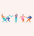 dancing couples people card cartoon characters vector image vector image