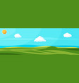 empty green landscape with sky clouds and sun vector image