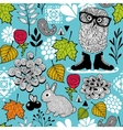 Endless pattern with forest birds and animals vector image vector image