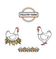 flat hand drawn chicken set isolated vector image vector image