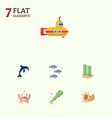 flat icon marine set of cancer playful fish vector image vector image