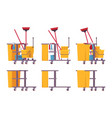 full and empty janitor cart vector image vector image