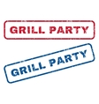 Grill Party Rubber Stamps vector image vector image