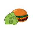 hamburger and money bills icon vector image vector image
