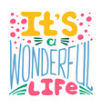 hand-written lettering its a wonderful life vector image