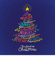 handwritten word cloud Christmas tree card vector image vector image