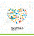 Heart Social network with media icons background vector image vector image